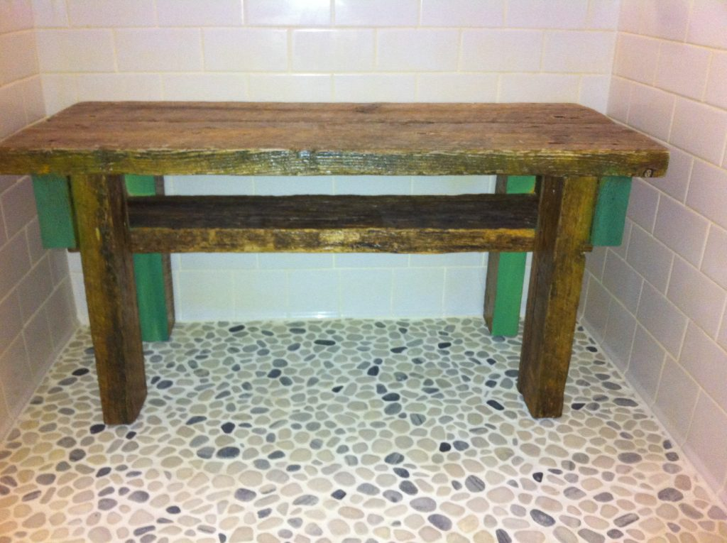 Swell Barnwood Shower Bench With Storage Shelf Sea Worthy Gmtry Best Dining Table And Chair Ideas Images Gmtryco